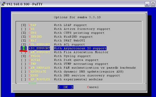 #cd /usr/ports/net/samba33 & make config